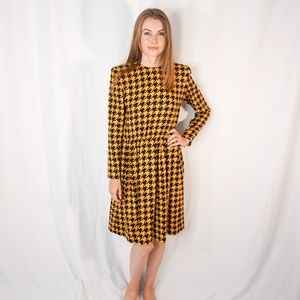 GIVENCHY LIFE VINTAGE 80s 90s Houndstooth Dress